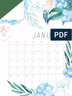 Calendário 2018 Flores de aquarela