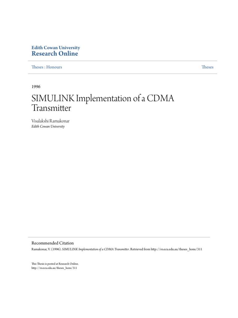 SIMULINK Implementation of a CDMA Transmitter | Modulation | Channel