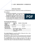 Arbitration and Mediation Schedule and Fees