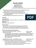 kendra bader resume updated