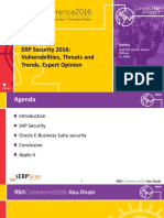 ERP Security 2016 Vulnerabilities, Threats and Trends. Expert Opinion