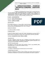 Especificaciones Tecnicas Gamarra - Santiago de Chuco Losa Deportiva