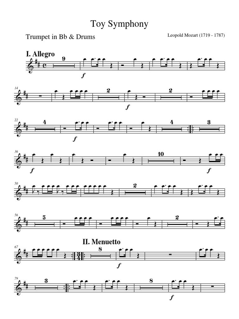 Toy Symphony - Leopold Mozart - Trumpet in Bb and Drums pdf