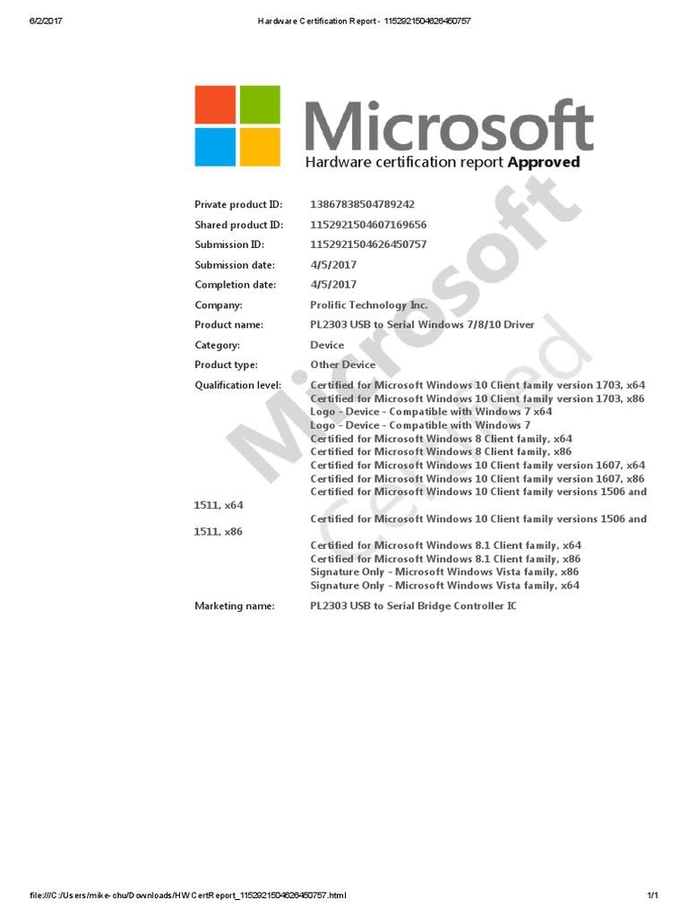 Hardware Certification Report 1152921504626450757pdf Windows 10