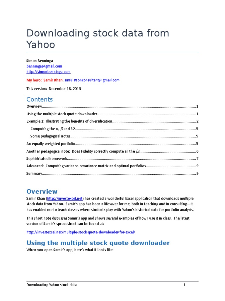 Downloading Stock Data From Yahoo | Diversification (Finance