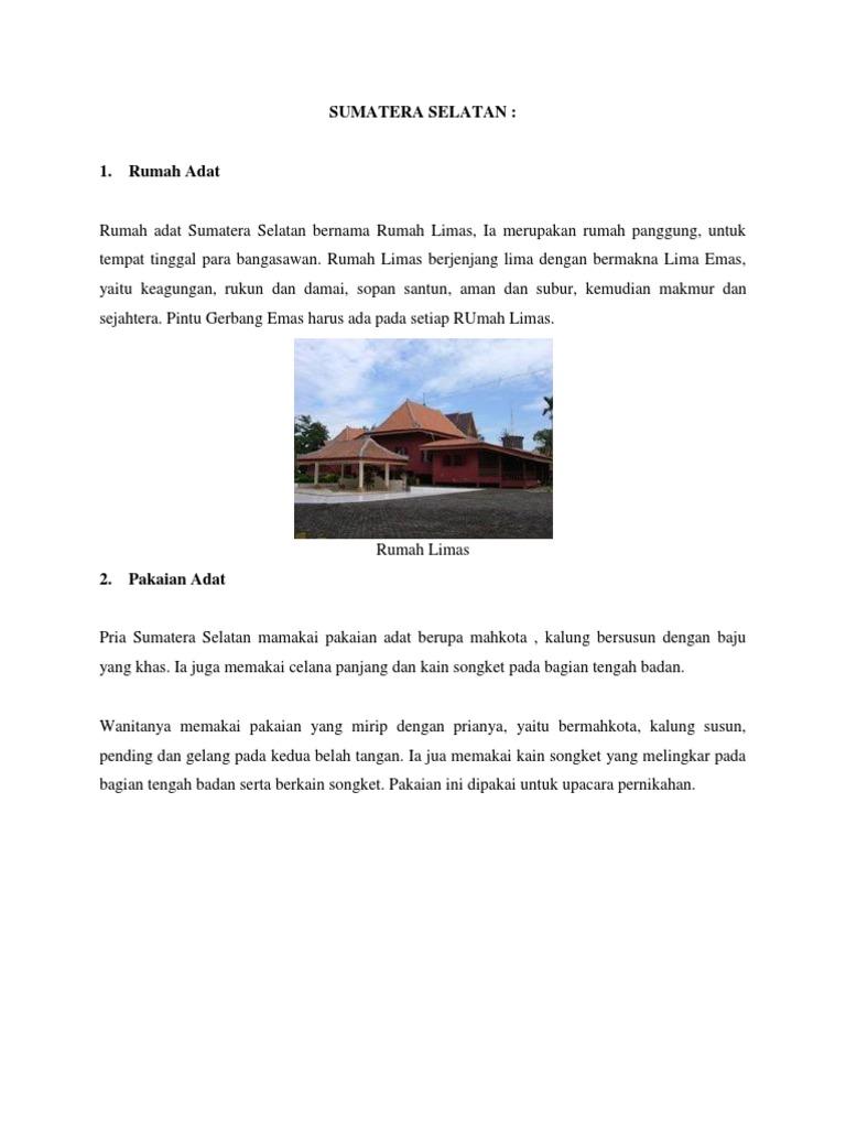 Mewarnai Gambar Rumah Adat Lampung gambar adat daerah sumatera selatan denah