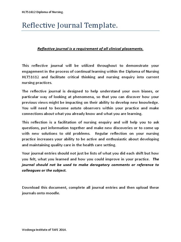 Clinical Placement Reflective Journal Template-1 | Nursing