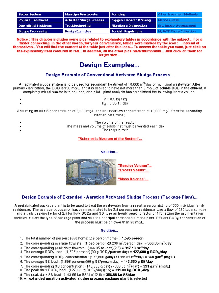 design examples sewage treatment chemical engineering