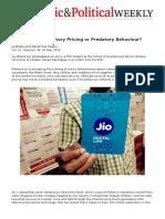Reliance Jio- Predatory Pricing or Predatory Behaviour