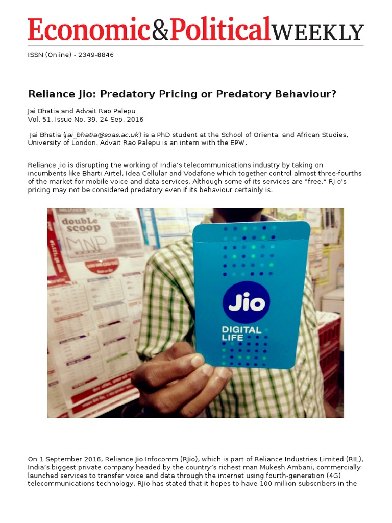 Reliance Jio- Predatory Pricing or Predatory Behaviour