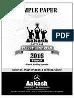 2016 Aakash Anthe Junior Sample Paper Class10
