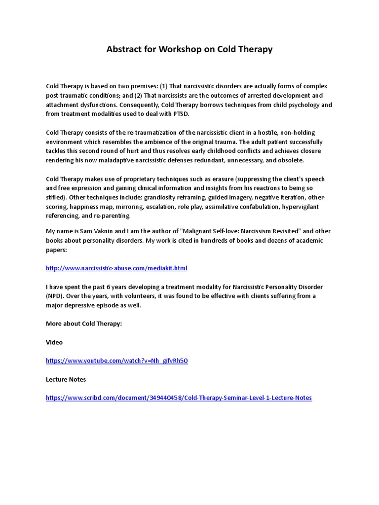 Abstract for a Workshop on Cold Therapy (Psychiatry 2018, Rome, July