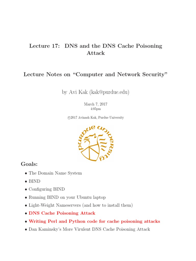 Lecture17 DNS and the DNS Cache Poisoning Attack | Domain Name