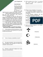 Avaliação de Ensino Religioso 4 Ano 3 Bimestre 2