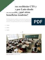 Profesores Recibirán CTS y Subsidio Por Luto