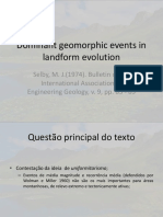 Dominant Geomorphic Events in Landform Evolution