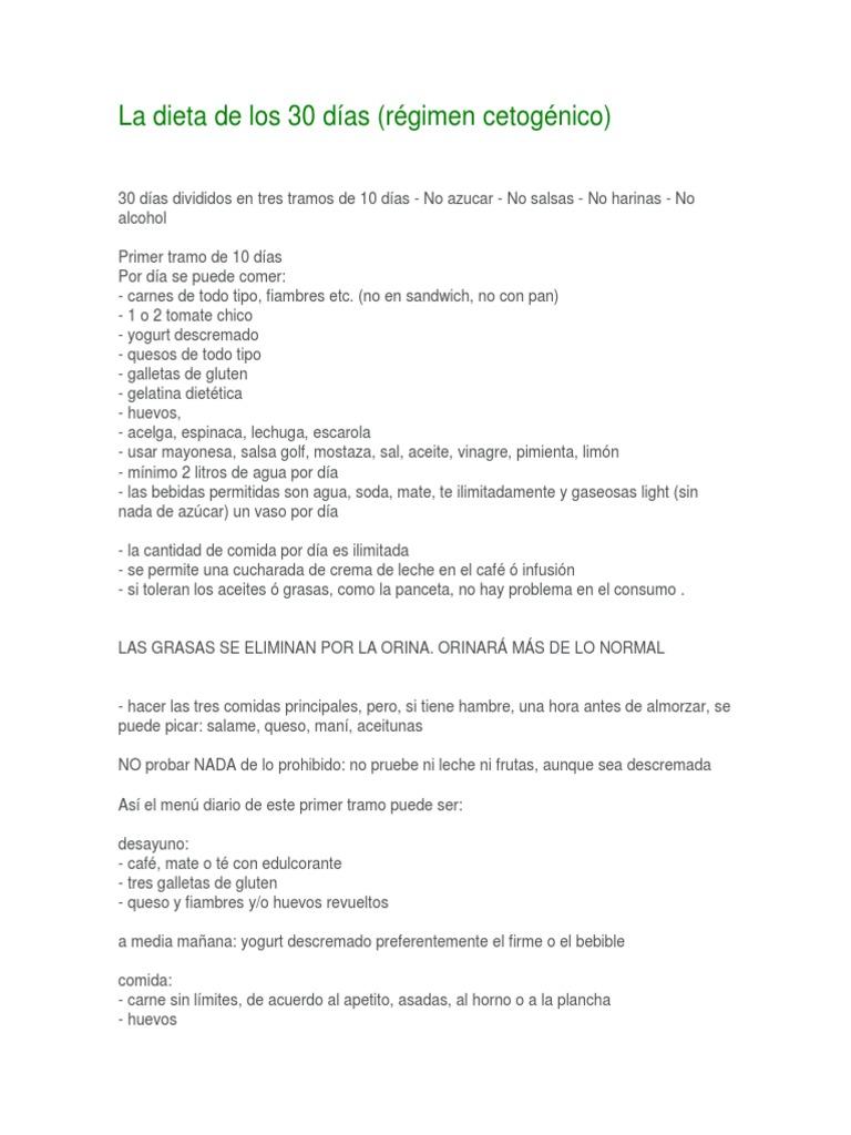 dieta cetogenica 3 tramos de 10 dias pdf