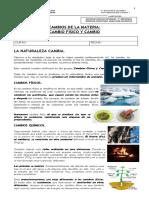 Guía de Cambio Físico y Cambio Químico-7° Básico