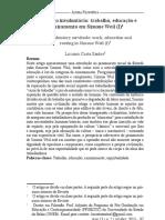 Artigo - A Servidão Involuntária- Trabalho, Educação e Enraizamento Em Simone Weil - Luciano Costa Santos