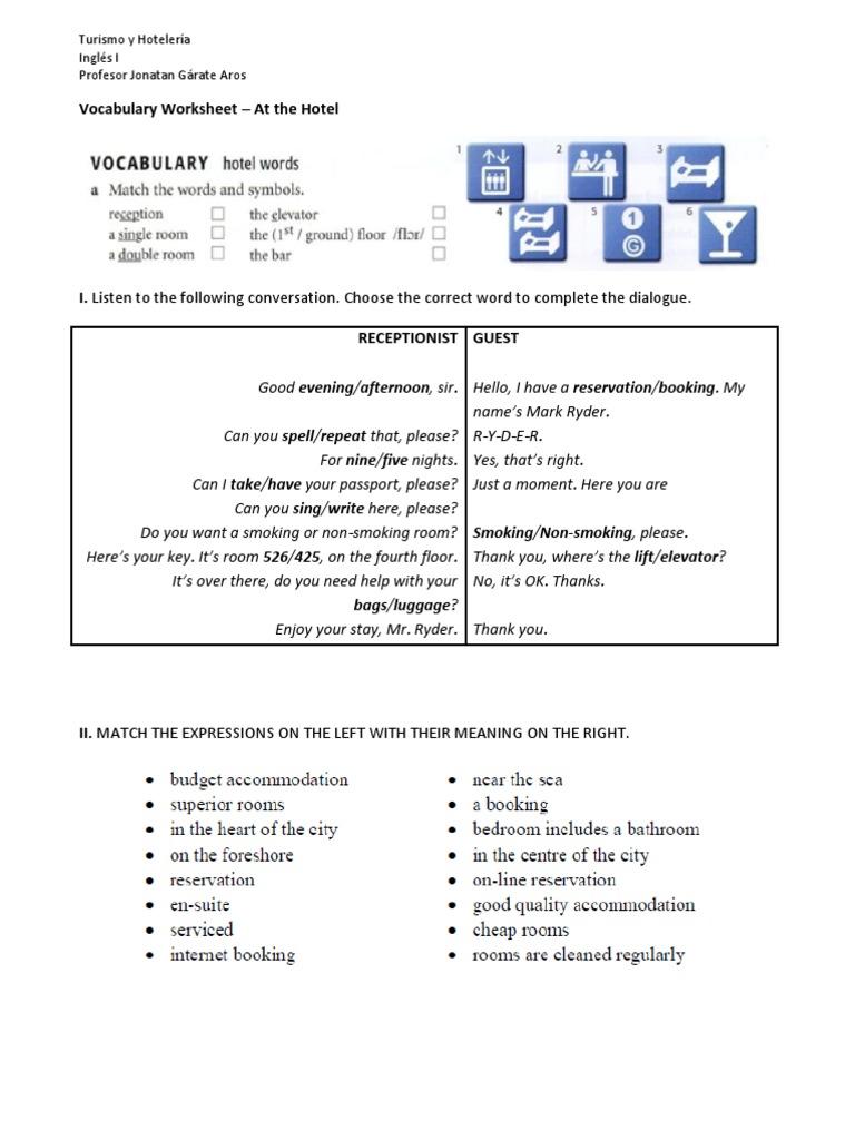 AT THE HOTEL VOCABULARY pdf   English Language   Linguistics