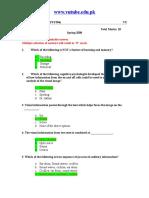 Cognitive Psychology - PSY504 Spring 2008 Quiz 01 Solution