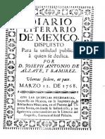 Alzate y Ramirez Joseph Antonio de - Diario Literario de Mexico Dispuesto Para La Utilidad Publica a Quien Se Se Dedica