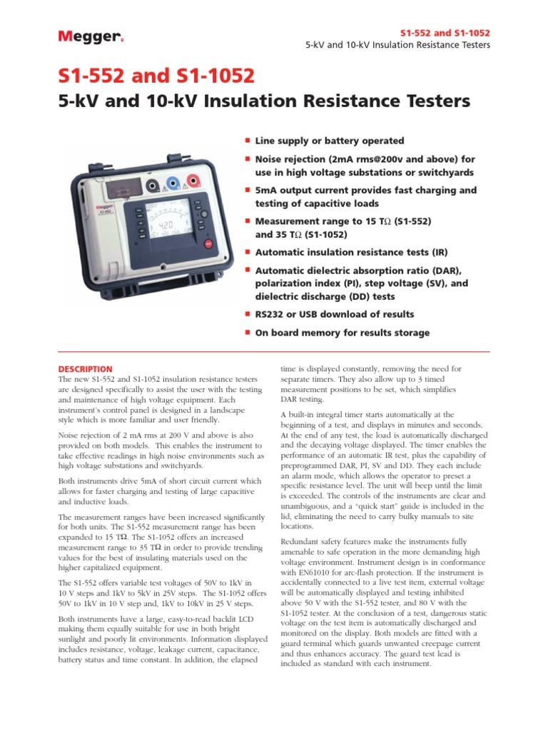 S1 552 1052 Ds En Us V01 Capacitor Electrical Substation Insulation Tester Constant 5kv