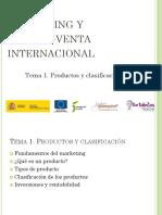 MARKETING Y COMPRA-VENTA INTERNACIONAL Tema 1. Productos y clasificación
