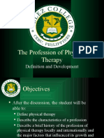 The Profession of Physical Therapy - Definition and Development
