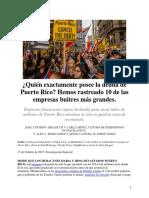 ¿Quién exactamente posee la deuda de Puerto Rico. CPI. Oct. 18, 2017