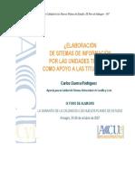 Elaboración de sistemas de información por las Unidades Técnicas como apoyo a las titulaciones