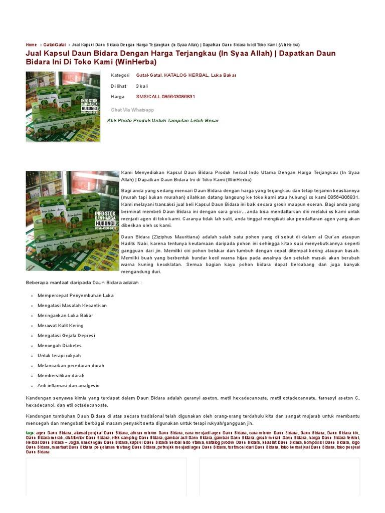 Herbal Daun Bidara Sms Call 085643086831 Agen Alamat Kapsul Minyak Penjual Aturan Minum Cara Menjadi