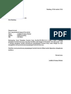 Contoh Surat Permohonan Perpanjangan Kontrak Kerja Karyawan