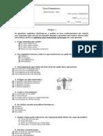 Teste Diagnóstico 9ºA e B