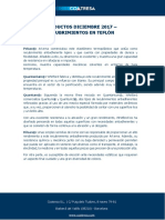 Productos Diciembre 2017 - Recubrimientos en Teflón