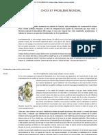 CHOIX ET PROBLÈME MONDIAL - Guillaume-Delaage, Civilisations, Hermétisme, Spiritualité[1]