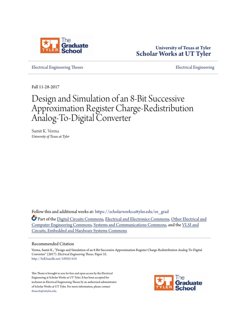 Design And Simulation Of An 8 Bit Successive Approximation Regist Analog To Digital Converter Circuit Sampling Signal Processing