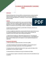 Elaboración Del Manual de Organización y Funciones