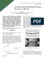 Analysis of Various Sheet Incremental Metal Forming Processes