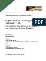 Eugen Bleuler - La Suggestibilité Négative