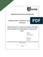 Importancia de La Iniciativa Del Lavado de Manos Con Jabon Para Mejorar La Problemática en Salud Del Peru