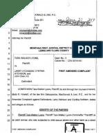 First amended complaint (6/21/17), Tara Walker Lyons v. Larry Atchison et al, case no. DV 2016-547, Lewis and Clark County, MT