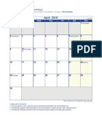 April 2018 Holiday Calendar