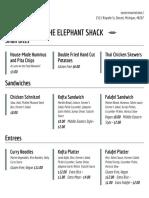 The Elephant Shack Menu