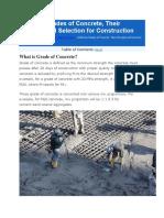 Different Grades of Concrete