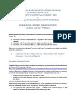 Enrolment to the International Program Economics an Finance