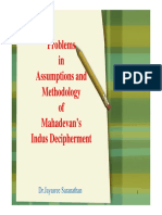 Problems in the assumption and methodology of Mahadevan's Indus decipherment.