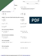 Algebra 1 Final Exam Review
