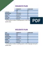 Holidays Plan