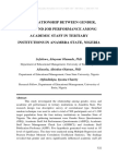 The Relationship Between Gender, Stress and Job Performance Among Academic Staff in Tertiary Institutions in Anambra State, Nigeria